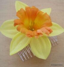 """4"""" Yellow & Orange Daffodil Silk Flower Hair Comb, Wedding.Prom,Dance, Bridal"""