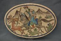 Antique 19 Century Indo Persian Islamic Ceramic Tile Hunting With Spear On Horse