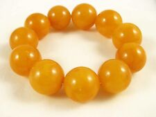 Natural 18.5mm Old Vintage Baltic Butterscotch Amber Bead Bracelet  43g 老琥珀