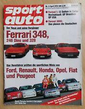 Sport Auto 4/1990 - Ferrari 348 - 246 Dino - 328 - Toyota Celica T - MX 5 - Elan