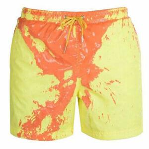 Men Beach Sport Shorts Swimming Swimwear Trunks Board Pants Color Change Summer