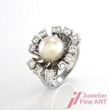 Ring mit 1A-Akoya-Perle & 12 Brillanten ca.1 ct TW-VVS in 14K Weißgold - 8,9 g