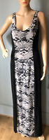 Matalan Be Beau Womens Snake Print Maxi dress Stretch U.K. Size 14 Black Grey Gc