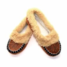 100% Leather Women Ladies Indoor Shoes Slippers Warm Moccasins 3 4 5 6 7 8 N
