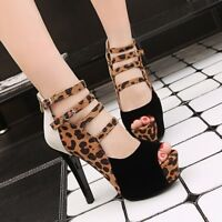 Women Peep Toe Sexy high heels Platform Pumps Strap Party Nightclub Shoes Size