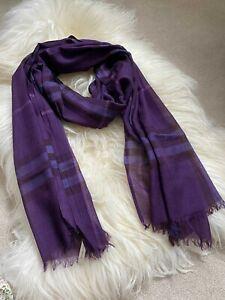 Authentic BN Burberry 220 x 70 Wool & Silk Long Gauze Wave Scarf Purple
