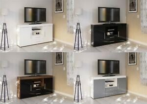 New Modernised TV Unit 2 Door 2 Drawer Storage Stand High Gloss in 4 colours