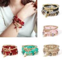 Frauen Multi-Layer-Quaste Armband Kristall Perlen Armreif Style Armband Boh R8X8