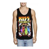 NEW MENS KISS BLACK COTTON ROCK SINGLET SHIRT TEE TOP SIZE S,M,L,XL,XXL