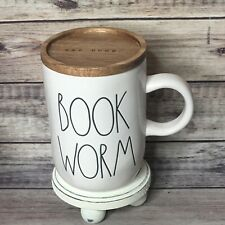 Rae Dunn BOOKWORM Mug With Wood Lid/Coaster