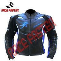 SUZUKI HAYABUSA NEW MOTORBIKE MOTORCYCLE RACING LEATHER JACKET XS-5XL CUSTOM