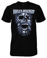 Harley-Davidson Men's Stretched Skull Short Sleeve Crew T-Shirt, Solid Black