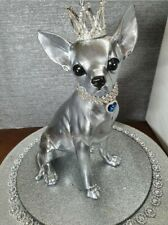 More details for chihuahua luxury statue in polished chrome silver with crown and pendant