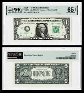 Fancy Serial Number 45777777 Fr. 3004-L $1 2017 Federal Reserve Note.PMG 65 EPQ