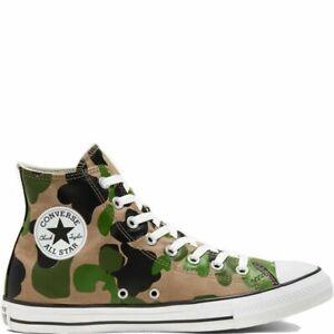 Converse Chuck Taylor All Star Hi Top Men's Size 9.5 Shoes Green Camo 166714F