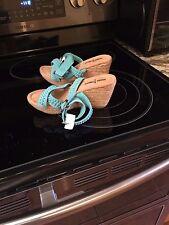 NEW Minnetonka Designer Wedge Open Toe Sandal Aqua Turquoise Suede HALEY Size 5