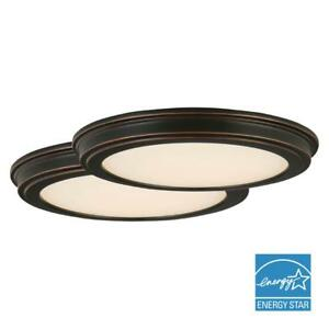 """Commercial Electric 2 Pack 13"""" 180-Watt Equivalent Oil R. Bronze Integrated LED"""