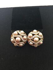 CIRO beautiful faux pearl and diamonte clip on earrings