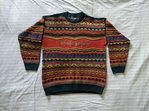 Vintage 80s 90s Sweater Shop Made In UK Multicolour Spell Out Jumper Size M