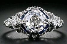 Beautiful White Topaz and Sapphire Vintage Look Ring Size M