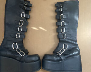 Demonia Knee High Buckle Boots Womens size 8 Goth Punk Platform Shoes