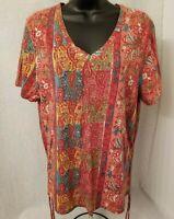 CJ Breeze Womens Multi Color Paisley Floral Design Shirt Top Blouse Size XXL