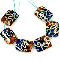 """Handmade Lampwork Glass """"Celebration Ribbon"""" 21mm 6pcs Beads(F23) Jewelry Making"""