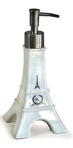 Soap/Lotion Dispenser - Shape of the Eiffel Tower - White Ceramic - Unique!