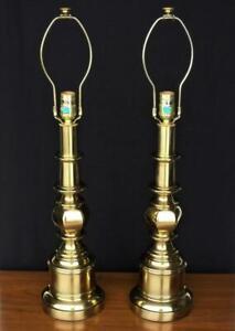 "Pair: Vintage STIFFEL 28"" Brass Candlestick Style Lamp Mid Century 1970s, EUC"