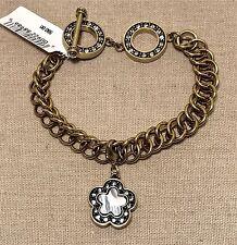 NIB $80 HEIDI DAUS Swarovski Toggle Charm Bracelet w/ Mother-of-Pearl Charm  NIB