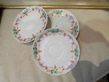 3 anciennes coupelles sous tasses porcelaine decor raisin vigne peinte dorée 19e