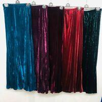New Ladies Mermaid Flared Velvet Long Maxi Skirt Gypsy Muslim 12 14 16 18 20 22