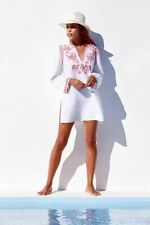NWT Johnny Was Azalea Embroidered Linen Tunic Dress XS 0 2 White Red Pink