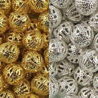 Gold & Silver Plated Metal Filigree Hollow Spacer Beads - Choose 4mm 10mm 14mm