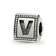 Letter V Triangle Block Bead .925 Sterling Silver Antiqued Reflection Beads