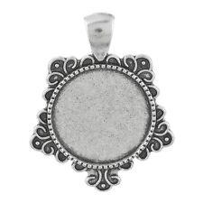 25 Antik Silber Charm Cabochons Kamee Klebestein Fassungen Anhänger 37x28mm