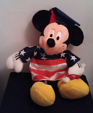 Disney Store, Graduation Mickey Mouse, 2003 American Flag Gown, Plush w/ diploma