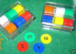 60 NUMBERED POKER CHIPS + CASE FREE P+P ROULETTE