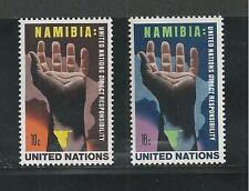 UNITED NATIONS, NEW YORK # 263-264, 1975 NAMIBIA, HAND OVER MAP