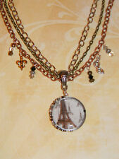 Eiffel Tower Paris Victorian Style Necklace Fleur de Lis Charms Cosplay French