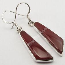 """.925 Solid Silver Wonderful CABOCHON CARNELIAN Flat STONE PRETTY Earrings 1.7"""""""