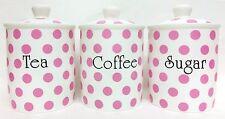 Pink Spots Tea Coffee Sugar Canisters Bone China Storage Jars Set Decorated UK