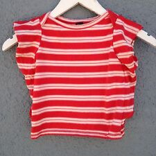 TEAH SHIRT FOR GIRLS SIZE 3 RED AND OFF WHITE STRIPED SHORT SLEEVE PRE-OWNED
