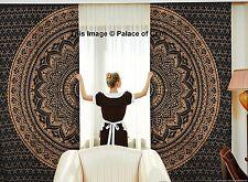 Indian Cotton Ombre Mandala Gold Black Curtains Window Door Curtain Drape Scarf