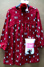 GYMBOREE PENGUIN RED LONG SLEEVES COTTON DRESS 4T ++ TIGHTS ++ PONYTAIL POM-POM