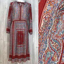 VTG Womens Dress 70's handkerchief pleated semi sheer tie hippy floral