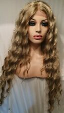 Sandy Ash Dark Blonde Human Hair Wig Lace Front Long Wig Curly Wavy