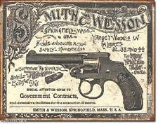 Smith Wesson 1892 Goverment contrats revolver gunvintage rétro étain signe Western