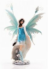 Turquoise Snow Fairy Figurine with Metal Wings  - Legends of Avalon