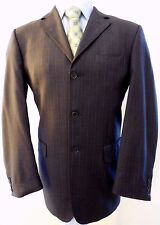 Enzo Tovare Blazer 42L Jacket Wool Pinstriped Sz Gray Super 150s Italy Dual Vent